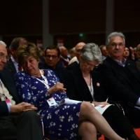Foto Nicoloro G. 06/05/2014  Rimini   Si è aperto ufficialmente il 17° Congresso della CGIL. nella foto da sinistra il presidente ANPI Carlo Smuraglia, Susanna Camusso, Bernadette Sègol, Raffaele Bonanni e Luigi Angeletti.