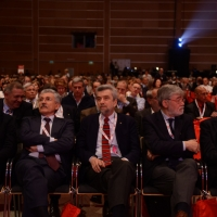 Foto Nicoloro G.  06/05/2014  Rimini   Si è aperto ufficialmente il 17° Congresso della CGIL. nella foto ospiti da sinistra il ministro Andrea Orlando, Massimo D'Alema, Cesare Damiano, Sergio Cofferati, Antonio Pizzinato.