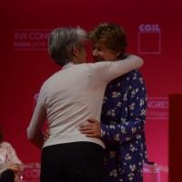 Foto Nicoloro G. 06/05/2014  Rimini   Si è aperto ufficialmente il 17° Congresso della CGIL. nella foto l'abbraccio tra il segretario generale della Confederazione Europea dei Sindacati Bernadette Sègol e Susanna