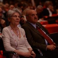 Foto Nicoloro G. 06/05/2014  Rimini   Si è aperto ufficialmente il 17° Congresso della CGIL. nella foto il segretario generale UIL Luigi Angeletti e Bernadette Sègol, segretario generale della Confederazione Europea dei Sindacati.