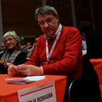Foto Nicoloro G.  07/05/2014  Rimini     Seconda giornata del 17° Congresso della CGIL. nella foto Maurizio Landini al suo posto di delegato dell' Emilia-Romagna.