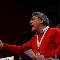 Foto Nicoloro G.  07/05/2014  Rimini     Seconda giornata del 17° Congresso della CGIL. nella foto Maurizio Landini durante il suo accalorato intervento.