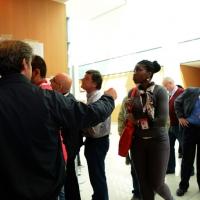 Foto Nicoloro G.  08/05/2014  Rimini  Terza e conclusiva giornata del 17° Congresso della CGIL. nella foto alcuni delegati consultano la lista dei candidati al direttivo nazionale che si apprestano a scegliere con il voto.