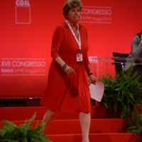 Foto Nicoloro G.  08/05/2014  Rimini  Terza e conclusiva giornata del 17° Congresso della CGIL. nella foto Susanna Camusso si appresta a fare il suo discorso di chiusura del Congresso.