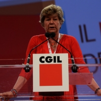 Foto Nicoloro G.  08/05/2014  Rimini  Terza e conclusiva giornata del 17° Congresso della CGIL. nella foto Susanna Camusso durante il suo discorso di chiusura del Congresso..