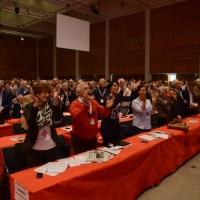 Foto Nicoloro G.  08/05/2014  Rimini  Terza e conclusiva giornata del 17° Congresso della CGIL. nella foto tutti in piedi ad applaudire il discorso di chiusura del segratario Susanna Camusso.