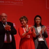 Foto Nicoloro G.  08/05/2014  Rimini  Terza e conclusiva giornata del 17° Congresso della CGIL. nella foto Susanna Camusso tra altri dirigenti CGIL alla fine del suo intervento.