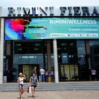"""Foto Nicoloro G.   30/05/2014   Rimini   Si è aperta la 9° edizione di """" Rimini Wellness """". nella foto l' ingresso alla Fiera."""
