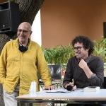 01/07/2021   Ravenna   Serata inaugurale dell' ottava edizione di ' Scrittura Festival '. nella foto il direttore della Biblioteca Classense Maurizio Tarantino, a sinistra, e Matteo Cavezzali, direttore di Scrittura  Festival.