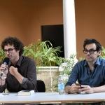 01/07/2021   Ravenna   Serata inaugurale dell' ottava edizione di ' Scrittura Festival '. nella foto a sinistra Matteo Cavezzali, direttore di Scrittura Festival e Nicola Lagioia, direttore del Salone Internazionale del Libro di Torino.