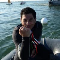 """Foto Nicoloro G.  01/06/2014  Cervia ( Ravenna )  570° edizione dello """" Sposalizio del Mare """". nella foto il vincitore di questa edizione Mauro Puntiroli del Circolo Nautico di Cervia."""