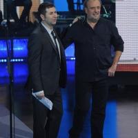 """Foto Nicoloro G. 23/01/2012 Milano Trasmissione televisiva su Rai3 """" Che tempo che fa """" condotta da Fabio Fazio. nella foto Fabio Fazio – Ivano Fossati"""