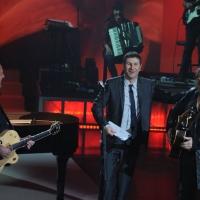 """Foto Nicoloro G. 23/01/2012 Milano Trasmissione televisiva su Rai3 """" Che tempo che fa """" condotta da Fabio Fazio. nella foto  Ivano Fossati – Fabio Fazio – Zucchero Fornaciari"""