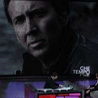 """Foto Nicoloro G. 28/01/2012 Milano Trasmissione televisiva su Rai3 """" Che tempo che fa """" condotta da Fabio Fazio. nella foto Fabio Fazio – Nicolas Cage"""