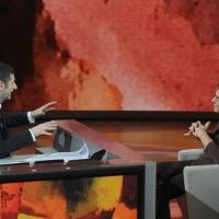 """Foto Nicoloro G. 29/01/2012 Milano Trasmissione televisiva su Rai3 """" Che tempo che fa """" condotta da Fabio Fazio. nella foto Fabio Fazio – Daniel Pennac"""