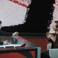 """Foto Nicoloro G. 29/01/2012 Milano Trasmissione televisiva su Rai3 """" Che tempo che fa """" condotta da Fabio Fazio. nella foto Fabio Fazio – Rocco Papaleo"""