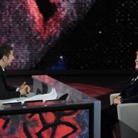"""Foto Nicoloro G. 29/01/2012 Milano Trasmissione televisiva su Rai3 """" Che tempo che fa """" condotta da Fabio Fazio. nella foto Fabio Fazio – Anna Maria Cancellieri"""