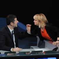 """Foto Nicoloro G. 29/01/2012 Milano Trasmissione televisiva su Rai3 """" Che tempo che fa """" condotta da Fabio Fazio. nella foto Fabio Fazio – Luciana Littizzetto"""