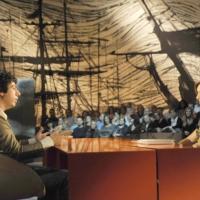 """Foto Nicoloro G. 01/10/2010 Milano, Puntata della trasmissione """" Invasioni barbariche """"  su La7 e condotta da Daria Bignardi. nella foto Renzo Bossi – Daria Bignardi"""