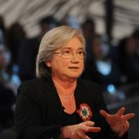 """Foto Nicoloro G. 04/03/2011 Milano Trasmissione televisiva su La7 """" Invasioni barbariche """" condotta da Daria Bignardi. nella foto Rosy Bindi"""