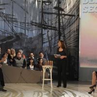"""Foto Nicoloro G. 04/03/2011 Milano Trasmissione televisiva su La7 """" Invasioni barbariche """" condotta da Daria Bignardi. nella foto Flavia Perina – Daria Bignardi – Daniela Santanche'"""