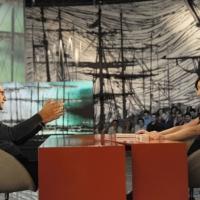 """Foto Nicoloro G. 08/04/2011 Milano Trasmissione televisiva su La7 """" Invasioni barbariche """" condotta da Daria Bignardi. nella foto Carlo Conti – Daria Bignardi"""