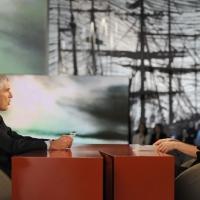 """NIK_Foto Nicoloro G. 11/02/2011 Milano Trasmissione televisiva su La7 """" Invasioni barbariche """" condotta da Daria Bignardi. nella foto Pier Ferdinando Casini – Daria Bignardi"""