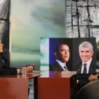 """Foto Nicoloro G. 11/02/2011 Milano Trasmissione televisiva su La7 """" Invasioni barbariche """" condotta da Daria Bignardi. nella foto Pier Ferdinando Casini – Daria Bignardi"""