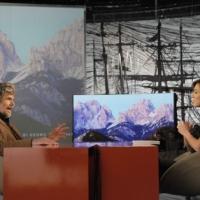 """Foto Nicoloro G. Milano 17/12/2010 Ultima puntata dell' edizione 2010 della trasmissione su La7 """" Invasioni barbariche """". nella foto Reinhold Messner – Daria Bignardi"""