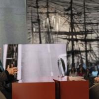 """Foto Nicoloro G. 18/03/2011 Milano Trasmissione televisiva su La7 """" Invasioni barbariche """" condotta da Daria Bignardi. nella foto Christian De Sica – Daria Bignardi"""