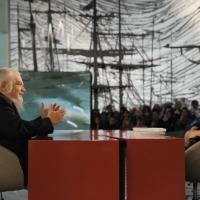 """Foto Nicoloro G. 28/01/2011 Milano Trasmissione televisiva su La7 """" Invasioni barbariche """" condotta da Daria Bignardi. nella foto Enzo Bianchi – Daria Bignardi"""
