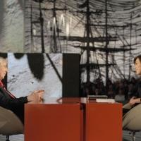 """Foto Nicoloro G. 28/01/2011 Milano Trasmissione televisiva su La7 """" Invasioni barbariche """" condotta da Daria Bignardi. nella foto Corrado Augias – Daria Bignardi"""