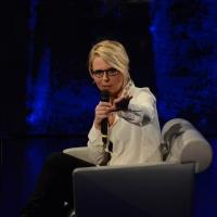 """Foto Nicoloro G.  01/02/2015  Milano    Trasmissione televisiva su Rai 3 """" Che tempo che fa """".  nella foto la conduttrice televisiva Maria De Filippi."""