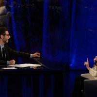 """Foto Nicoloro G.  01/02/2015  Milano    Trasmissione televisiva su Rai 3 """" Che tempo che fa """".  nella foto Fabio Fazio e la conduttrice televisiva Maria De Filippi."""