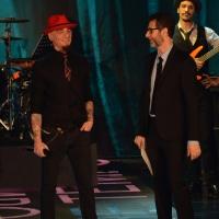"""Foto Nicoloro G.  01/02/2015  Milano    Trasmissione televisiva su Rai 3 """" Che tempo che fa """".  nella foto Fabio Fazio con il rapper J Ax."""