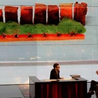 """Foto Nicoloro G. 01/03/2015 Milano Trasmissione televisiva su Rai 3 """" Che tempo che fa """". nella foto Fabio Fazio intervista lo chef pluristellato Massimo Bottura e sullo sfondo il suo famoso """" bollito """""""