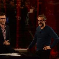"""Foto Nicoloro G.  01/03/2015   Milano    Trasmissione televisiva su Rai 3 """" Che tempo che fa """". nella foto Fabio Fazio e lo chef pluristellato Massimo Bottura."""