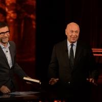 Foto Nicoloro G.  01/11/2015  Milano   Trasmissione televisiva su Rai 3 ' Che tempo che fa '. nella foto Fabio Fazio e lo storico Paolo Mieli.