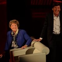 Foto Nicoloro G.   01/11/2015  Milano   Trasmissione televisiva su Rai 3 ' Che tempo che fa '. nella foto la scrittrice Dacia Maraini e il cantante Gianni Morandi.