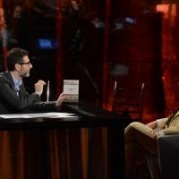 """Foto Nicoloro G.   03/05/2015  Milano   Trasmissione televisiva su Rai 3 """" Che tempo che fa """". nella foto Fabio Fazio e il giornalista e scrittore Stefano Bartezzaghi."""