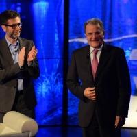 """Foto Nicoloro G. 03/05/2015  Milano   Trasmissione televisiva su Rai 3 """" Che tempo che fa """". nella foto Fabio Fazio e il professore Romano Prodi."""