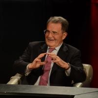"""Foto Nicoloro G.  03/05/2015  Milano   Trasmissione televisiva su Rai 3 """" Che tempo che fa """". nella foto il professore Romano Prodi."""