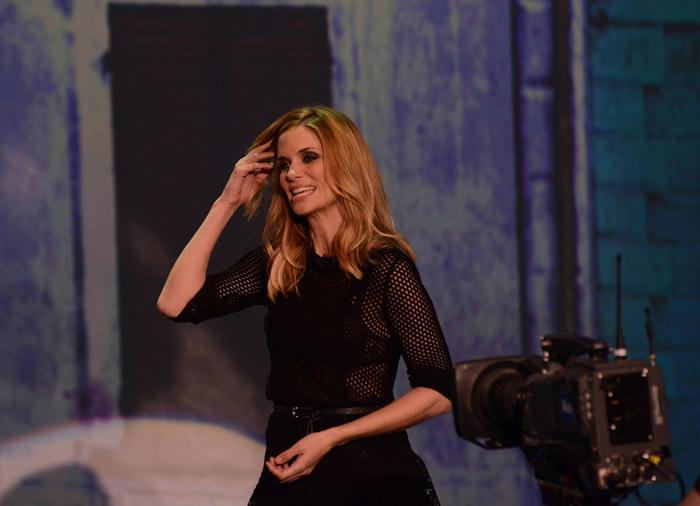"""Foto Nicoloro G. 09/03/2013 Milano Trasmissione televisiva su Rai3 """" Che tempo che fa"""" condotta da Fabio Fazio. nella foto Filippa Lagerback"""