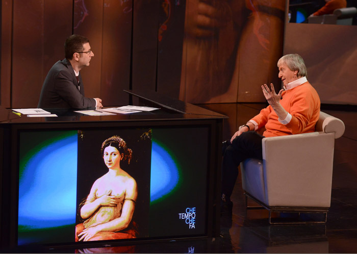 """Foto Nicoloro G. 09/03/2013 Milano Trasmissione televisiva su Rai3 """" Che tempo che fa"""" condotta da Fabio Fazio. nella foto Fabio Fazio – Flavio Caroli"""