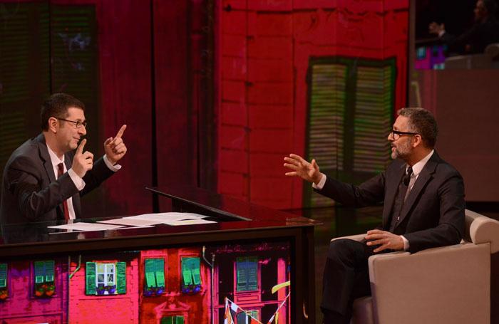 """Foto Nicoloro G. 09/03/2013 Milano Trasmissione televisiva su Rai3 """" Che tempo che fa"""" condotta da Fabio Fazio. nella foto Fabio Fazio – Giuseppe Fiorello"""