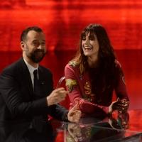 Foto Nicoloro G. 09-01-2016 Milano Trasmissione televisiva su Rai 3 ' Che fuori tempo che fa '. nella foto Fabio Volo e l' ex miss Italia Miriam Leone.
