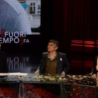 Foto Nicoloro G. 09-01-2016 Milano Trasmissione televisiva su Rai 3 ' Che fuori tempo che fa '. nella foto da sinistra Fabio Fazio, Vincenzo Salemme e Tosca D' Aquino.