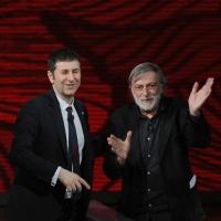 """Foto Nicoloro G. 09/04/2011 Milano Trasmissione televisiva su Rai3 """" Che tempo che fa """" condotta da Fabio Fazio. nella foto  Fabio Fazio – Gino Strada"""