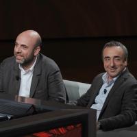 """Foto Nicoloro G. 09/04/2011 Milano Trasmissione televisiva su Rai3 """" Che tempo che fa """" condotta da Fabio Fazio. nella foto Paolo Virzì – Silvio Orlando"""