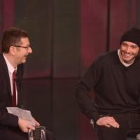 """Foto Nicoloro G. 10/03/2013 Milano Trasmissione televisiva su Rai3 """" Che tempo che fa """" condotta da Fabio Fazio. nella foto Fabio Fazio –  Fabri Fibra"""